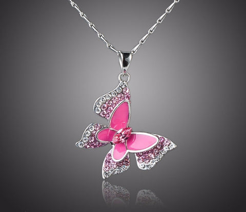 Sparkling Butterfly Pendant Necklace