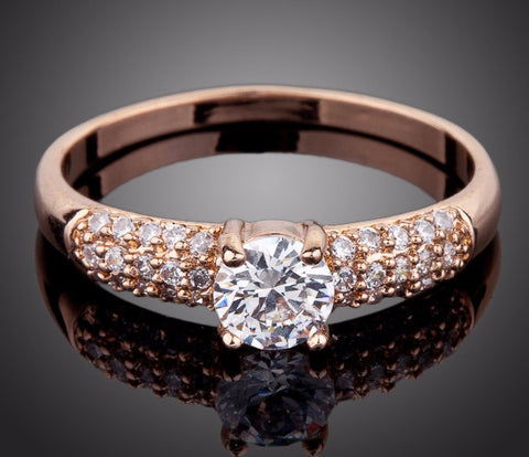 Rose Gold Plated 2ct Round Cut Cubic Zirconia Ring