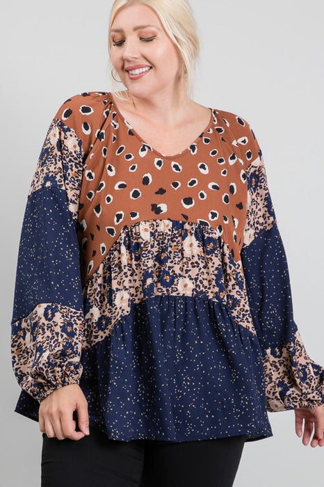 PLUS Size Leopard and Floral Blocked Blouse