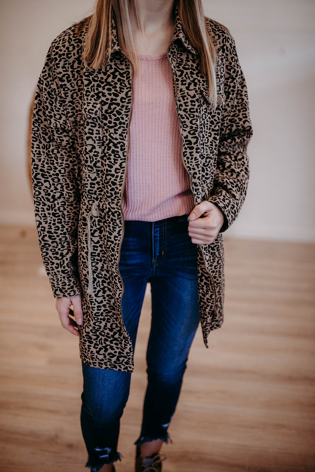 Leopard Print Zipper Jacket