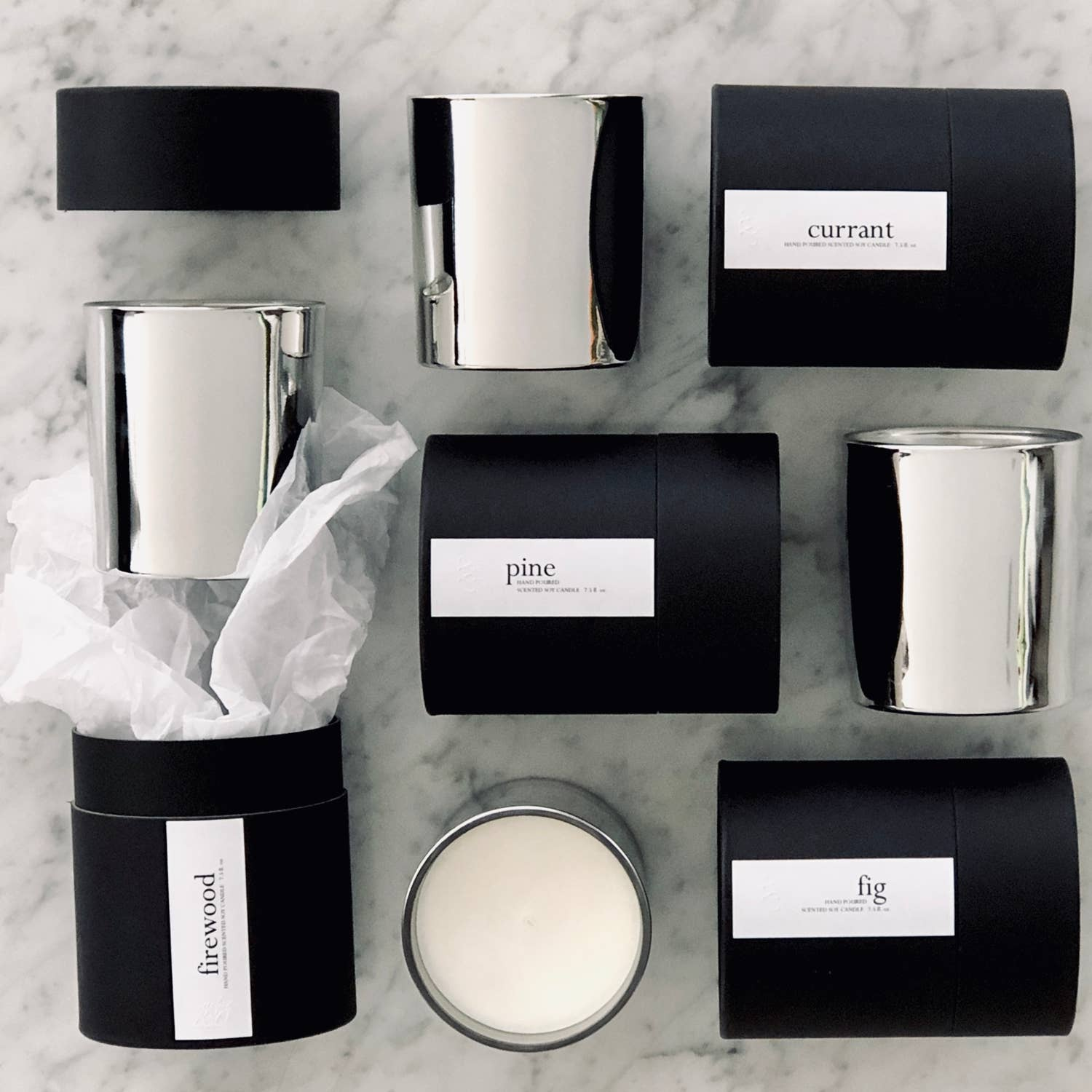 Minimalist Silver Holiday Scented Candles