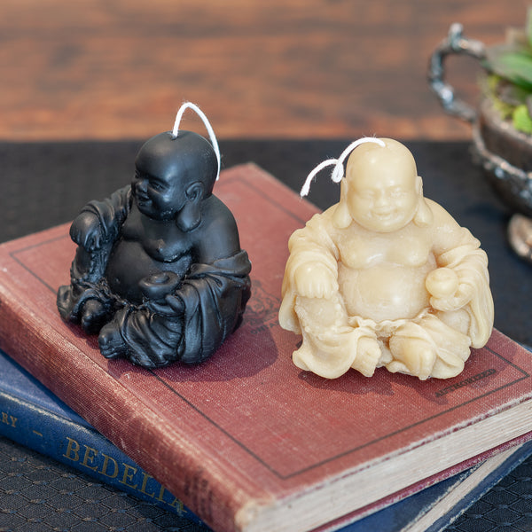 Black and Yellow  Buddha Beeswax Candle