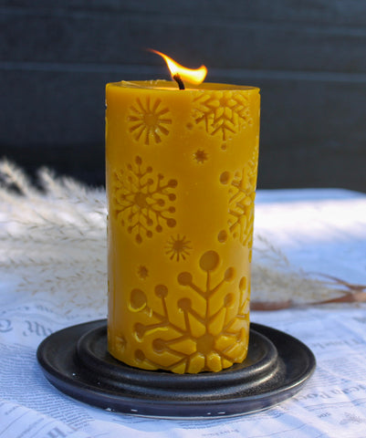 Yellow Beeswax Candle Snowflakes