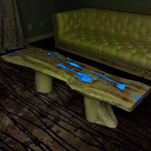 white washed reclaimed cedar wood st augustine florida old town timber coffee table glow in the dark resin