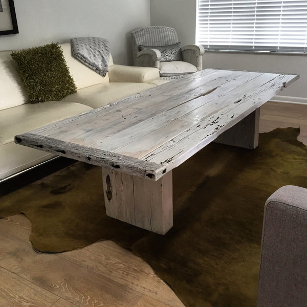 White washed reclaimed cedar wood coffee table made in st augustine florida
