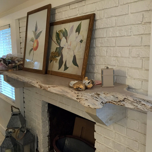 Live Edge Mantle made with white washed cedar from Saint Augustine Florida