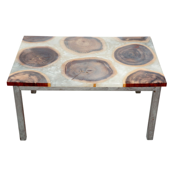 Cross Cut Resin Side Table