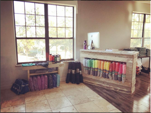 reclaimed cedar wood st augustine florida old town timber WAYmat yoga mat front desk white wash the yoga collective