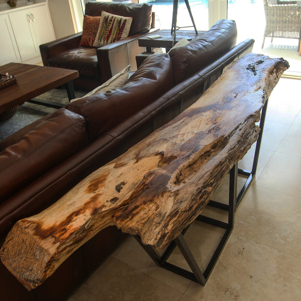 Live Edge Console Table made from 100 year old Magnolia Tree from Huguenot Cemetery in Saint Augustine Florida