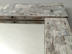 White washed cedar plank mirror frame made with locally sourced materials from Saint Augustine Florida