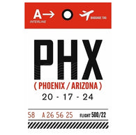 Luggage Tag PHX Phoenix, Arizona  Lantern Press Postcard