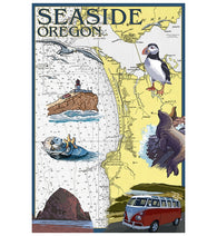 Map Seaside Oregon Nautical Chart Lantern Press Postcard