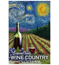 Starry Night Sonoma Wine Country Lantern Press Postcard