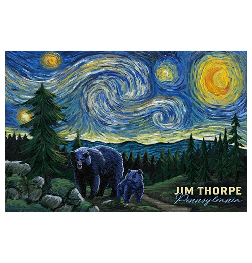 Starry Night Jim Thorpe Pennsylvania Lantern Press Postcard