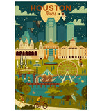 Geometric Houston Texas Night Lantern Press Postcard