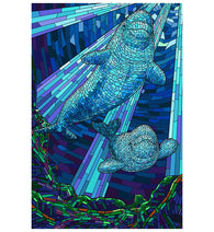 Mosaic Beluga Whale Lantern Press Postcard
