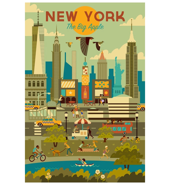 Geometric New York City Lantern Press Postcard