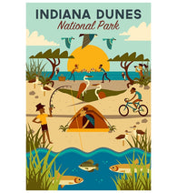 Geometric Indiana Dunes Lantern Press Postcard