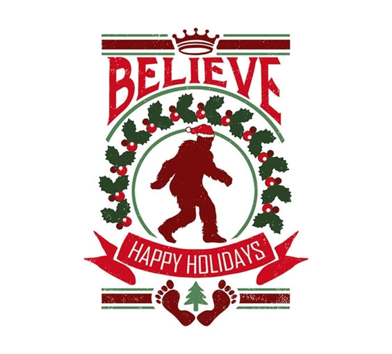 Believe Sasquatch Holiday Lantern Press Postcard