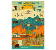 Geometric The Mountains are Calling Lantern Press Postcard