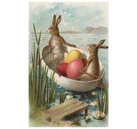 Easter Bunny Rowboat Lantern Press Postcard