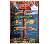 Signpost Adirondacks Lantern Press Postcard