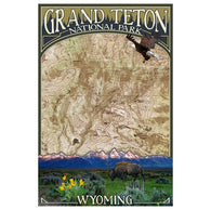 Topographical Map Grand Teton National Park Lantern Press Postcard