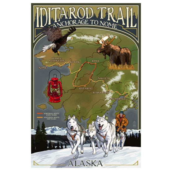 Map Iditarod Trail Lantern Press