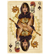 Playing Card - Queen of Spades - Lantern Press Postcard