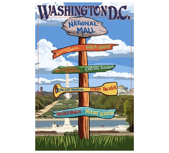 Signpost Washington DC Lantern Press Postcard