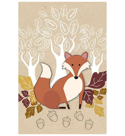 Fall Fox Illustration Lantern Press Postcard
