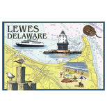 Map Lewes Delaware Lighthouse Nautical Lantern Press Postcard