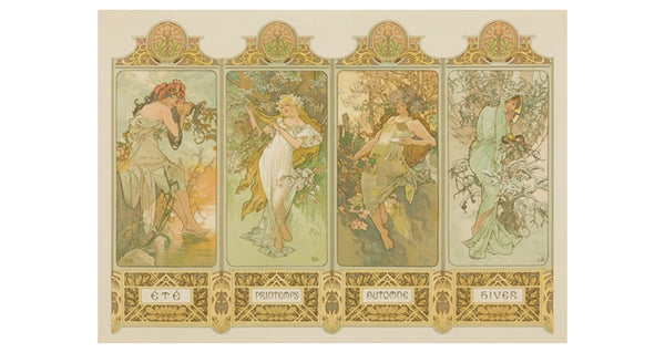Mucha Four Seasons Lantern Press Postcard