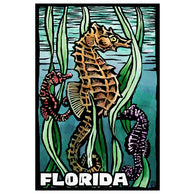 Woodblock Florida Seahorse Lantern Press Postcard