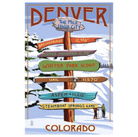 Signpost Denver, Colorado Lantern Press Postcard