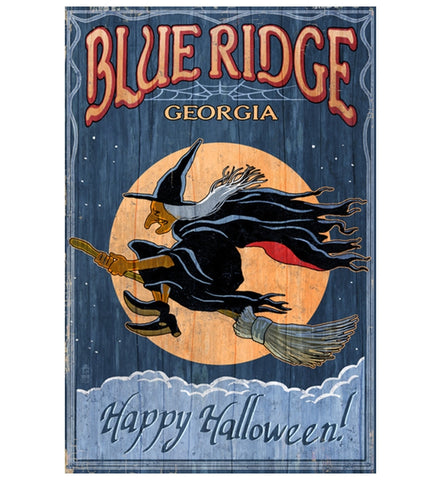 Halloween Witch Blue Ridge Lantern Press Postcard