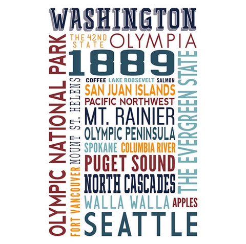 Typography WASHINGTON Lantern Press Postcard