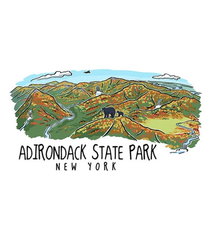 Adirondack State Park, New York Line Drawing Lantern Press Postcard