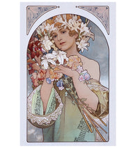 Mucha Woman with Flowers Lantern Press Postcard