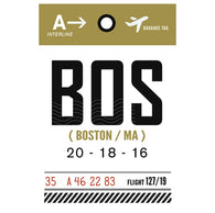 Luggage Tag BOS Boston, Massachusetts Lantern Press Postcard
