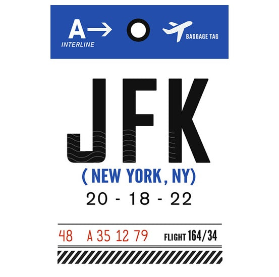 Luggage Tag JFK New York  Lantern Press Postcard