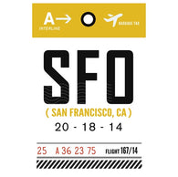 Luggage Tag SFO San Francisco, California  Lantern Press Postcard