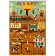 Old West Geometric Lantern Press Postcard