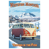Whitefish Montana VW Van Lantern Press postcard