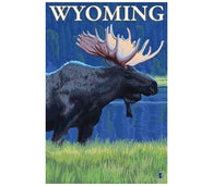 Wyoming Moose - Lantern Press Postcard