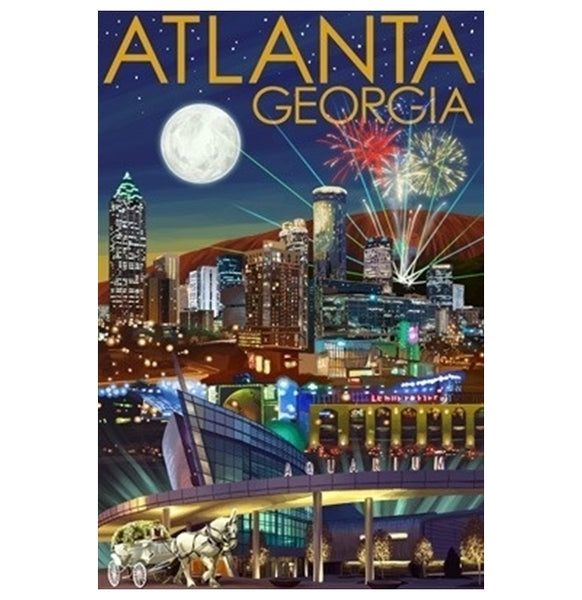 Atlanta, GA Nightview Lantern Press Postcard