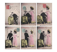 set 6 romantic POET antique french tinted postcards cartes postales