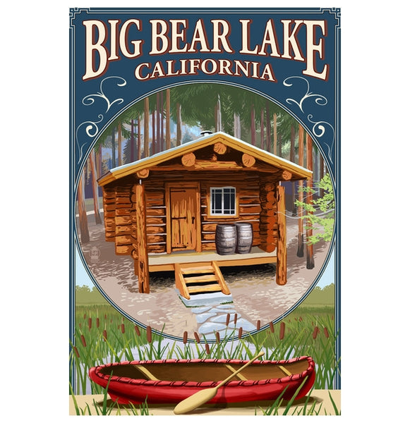 Big Bear Lake, California Cabin in the Woods Lantern Press Postcard