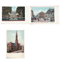 Glittery Brussels postcards - antique cartes postales lot of 3 - undivided backs