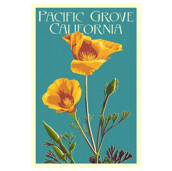Silkscreen California Poppies Lantern Press postcard